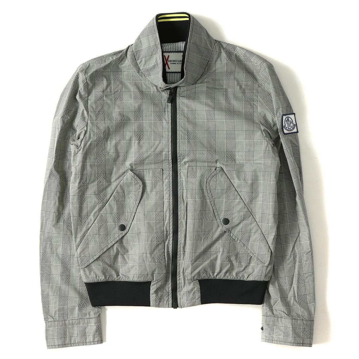 MONCLER GAMME BLEU (Monk rail gum blue) glen check Harrington jacket gray 1