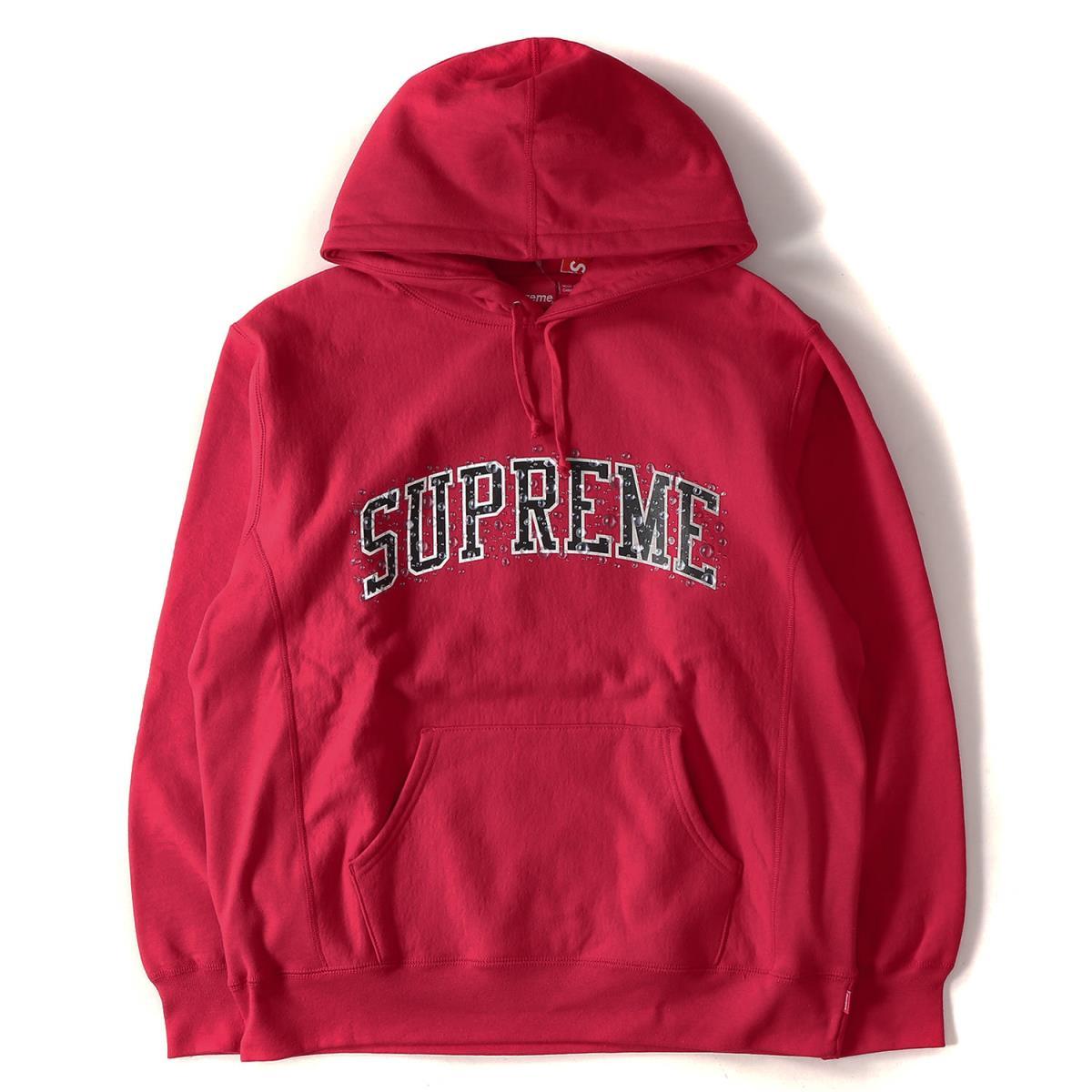 Supreme (シュプリーム) 18A/W ウォーターアーチロゴスウェットパーカー(Water Arc Hooded Sweatshirt) レッド XL 【メンズ】【K2093】【あす楽☆対応可】