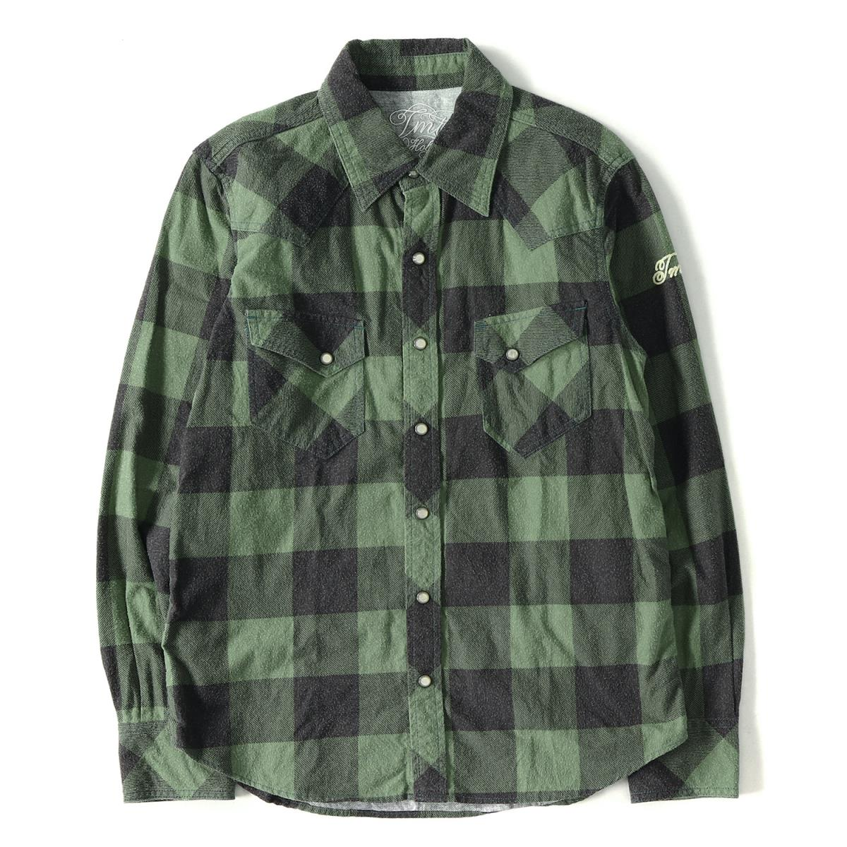 TMT (tea M tea) 16A W buffalo check western flannel shirt (BUFFALO CHECK  PRINT SHIRTS) green S de5f130580a