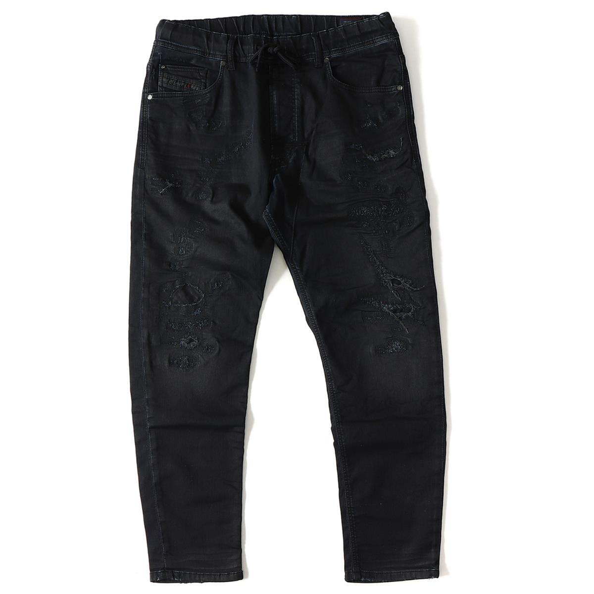 DIESEL (ディーゼル) コーティング加工ダメージリペアスウェットデニムパンツ(NARROT-NE Sweat jeans) インディゴ 30 【メンズ】【K2098】【あす楽☆対応可】