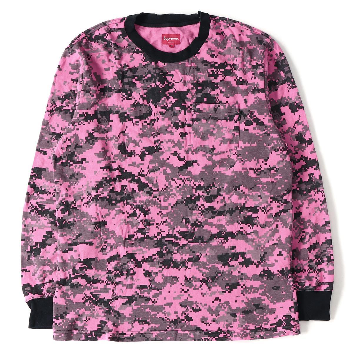 Supreme (シュプリーム) 17A/W ポケット付きヘビーウエイトロングスリーブTシャツ(L/S Pocket Tee) ピンクデジカモ M 【メンズ】【K2114】【中古】【あす楽☆対応可】