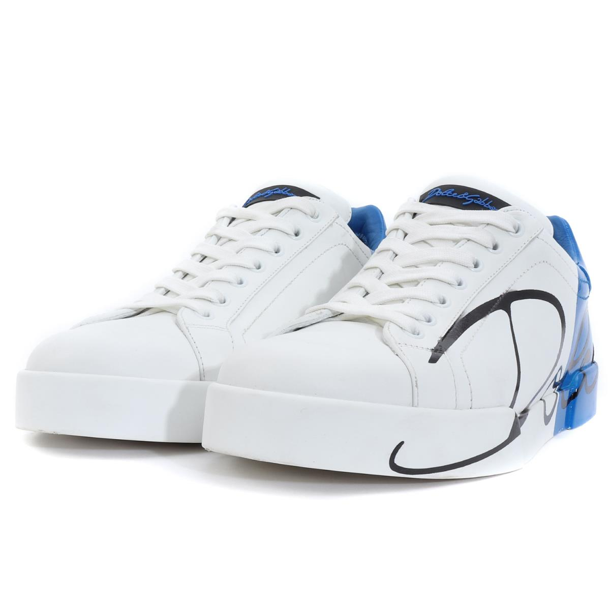 85053d8a22f8 DOLCE GABBANA (Dolce   Gabbana) 18S S brand logo by color leather low-frequency  cut sneakers (PORTOFINO) white X blue 8
