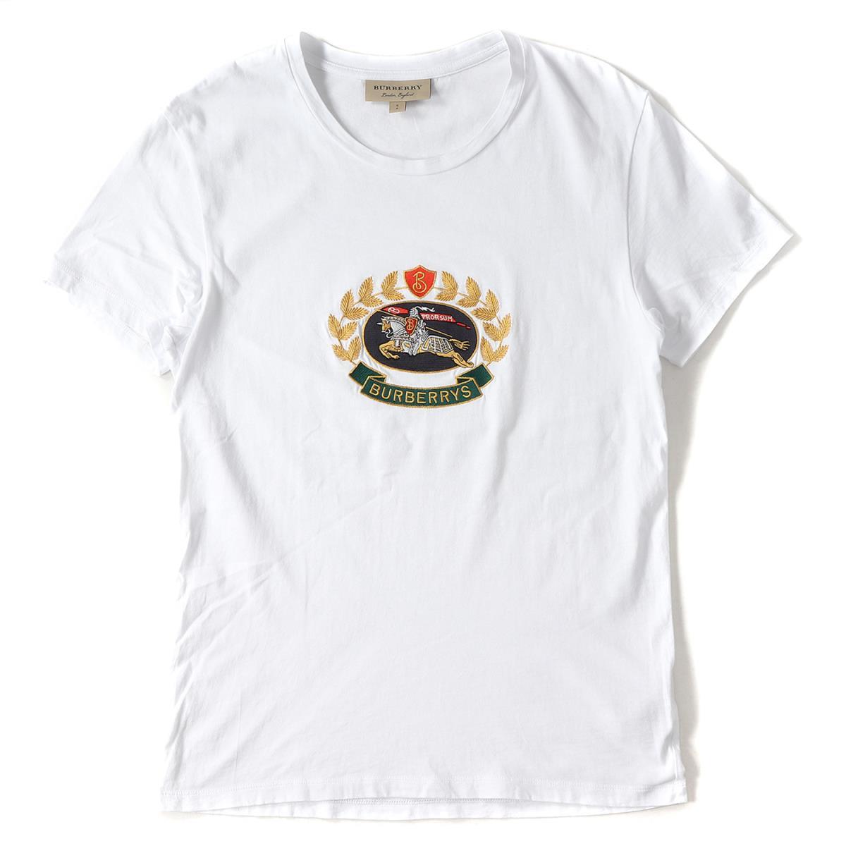 BURBERRY (バーバリー) 18S/S アイコン刺繍コットンクルーネックTシャツ ホワイト S 【メンズ】【美品】【K2122】【中古】
