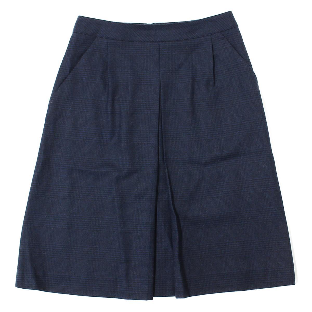 OLD ENGLAND(オールドイングランド) 17A/W チェック ツィードストレッチスカート ブルー×ブラック 34(S) 【レディース】【美品】【K2129】【中古】