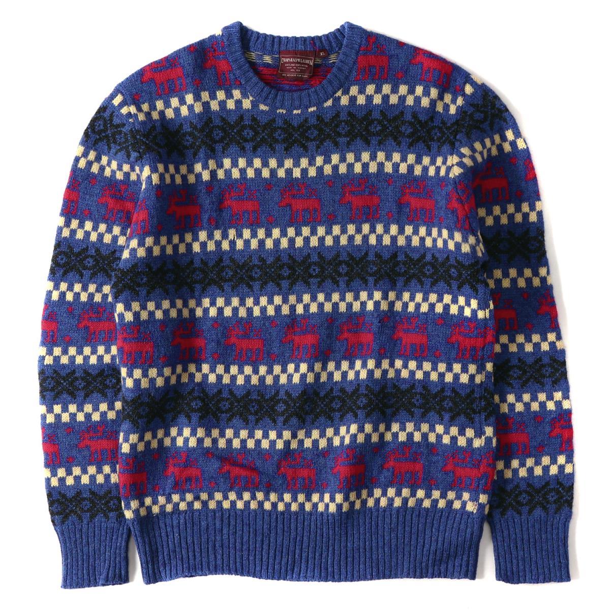 a2d6098ba RALPH LAUREN (Ralph Lauren) 90  s reindeer pattern crew neck knit sweater  ...