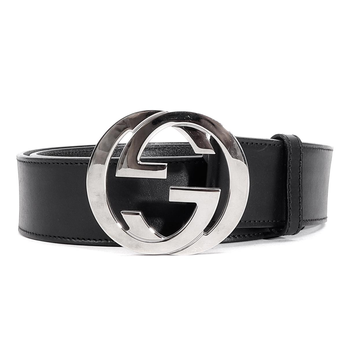 GUCCI (Gucci) GG buckle interlocking grip belt black 36 (90cm)