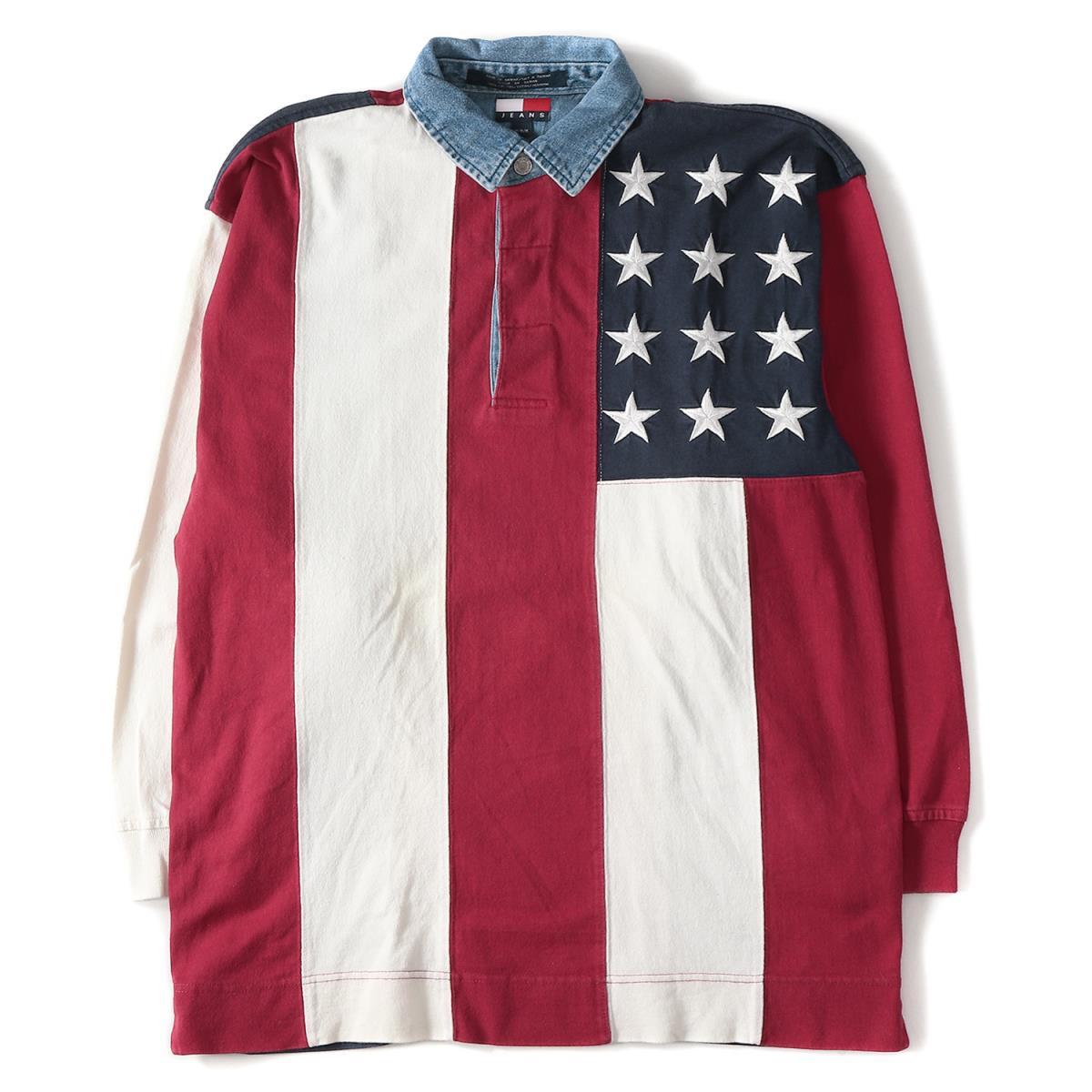TOMMY HILFIGER (トミーヒルフィガー) 90's 星条旗デザインデニム切替ラガーシャツ ヴィンテージ デカロゴ レッド×ホワイト×ネイビー M 【メンズ】【K2167】【中古】【あす楽☆対応可】