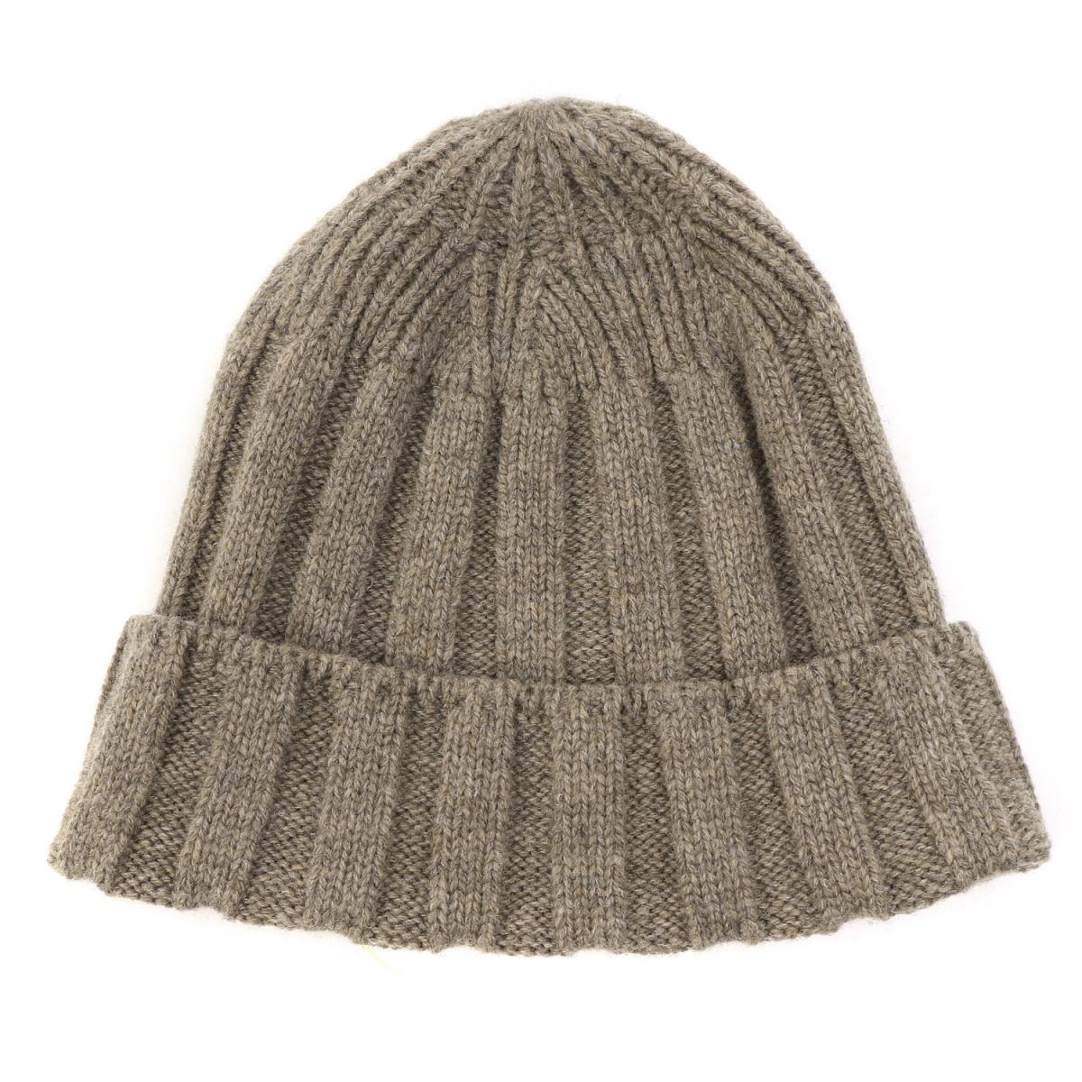 NONNATIVE (non-native) 16A W rib wool knit beanie (DWELLER BEANIE SHETLAND  WOOL YARN) トープ 3d7bb9a67ae