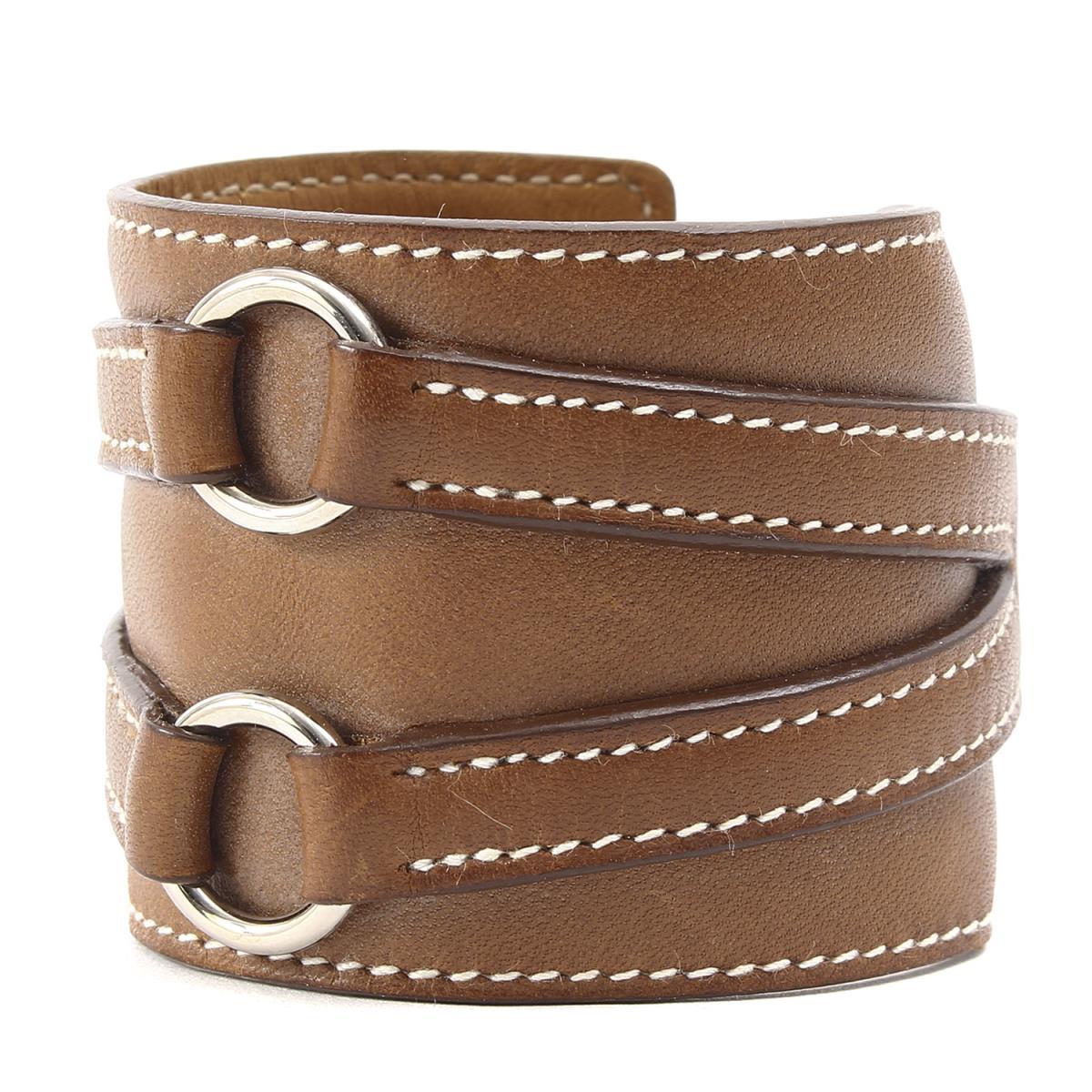 04fad3398f31 BEEGLE by Boo-Bee  HERMES (Hermes) ring belt leather bracelet brown ...
