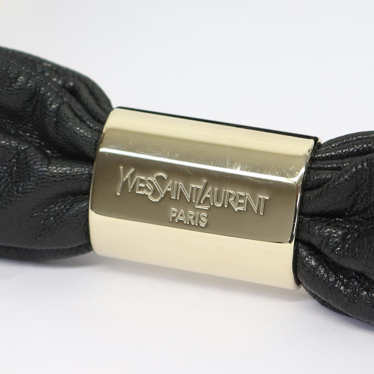 be6284c5fbb1 YVES SAINT LAURENT (Eve Saint-Laurent) frill leather suede cloth handbag  mini-tote bag black X brown X khaki