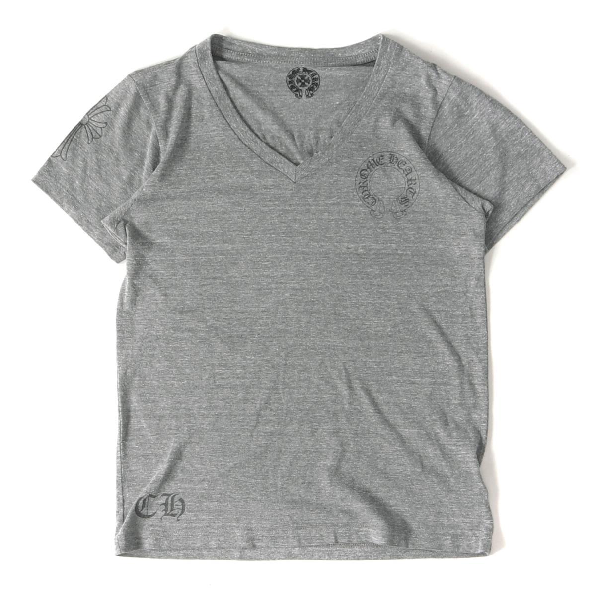 CHROME HEARTS (クロムハーツ) スクロールラベル&CHクロスVネックTシャツ グレー S 【メンズ】【K2191】【中古】【あす楽☆対応可】