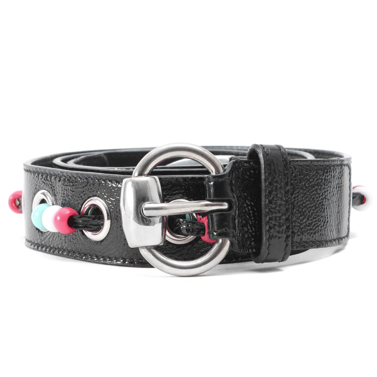 82d5aec7b03 Black 90-36 made in patent leather narrow belt Italy with GUCCI (Gucci)  beads