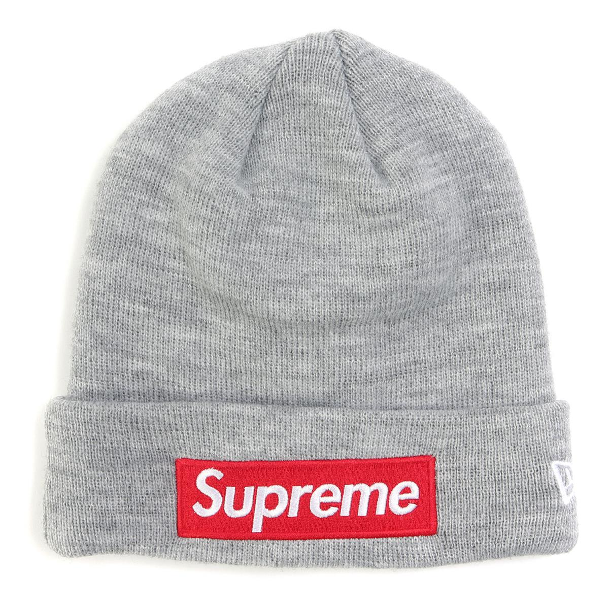 Supreme (シュプリーム) 18A/W ×NEW ERA BOXロゴアクリルニットビーニー(Box Logo Beanie) ヘザーグレー 【メンズ】【美品】【K2204】【中古】【あす楽☆対応可】