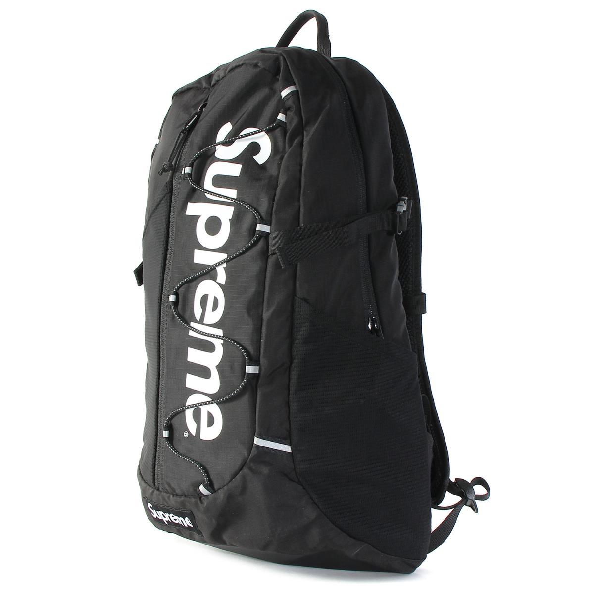 Supreme (シュプリーム) 17S/S ブランドロゴコーデュラリップストップナイロンバックパック(Backpack) ブラック 【メンズ】【美品】【K2214】【中古】【あす楽☆対応可】
