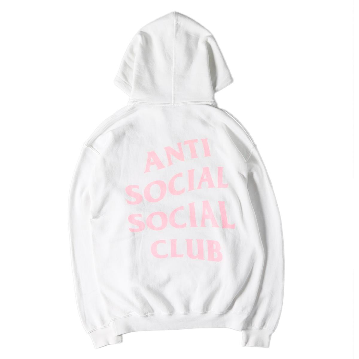 Anti Social Social Club (アンチ ソーシャル ソーシャル クラブ) ブランドロゴプスウェットパーカー ホワイト×ピンク M 【メンズ】【K2229】【中古】【あす楽☆対応可】