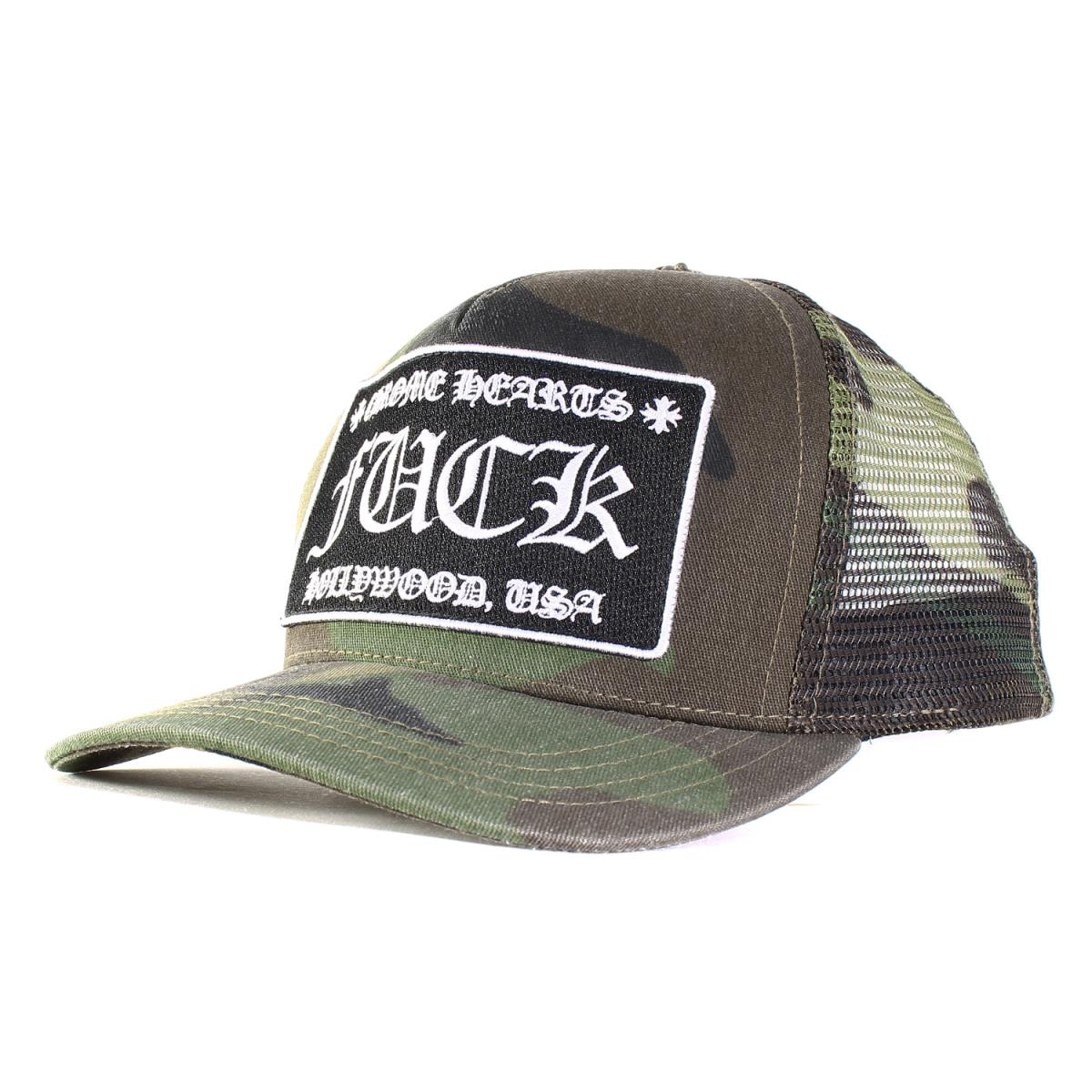 8ba33c111 Green camouflage made in the CHROME HEARTS (chromic Hertz) FUCK patch  trucker cap mesh cap United States