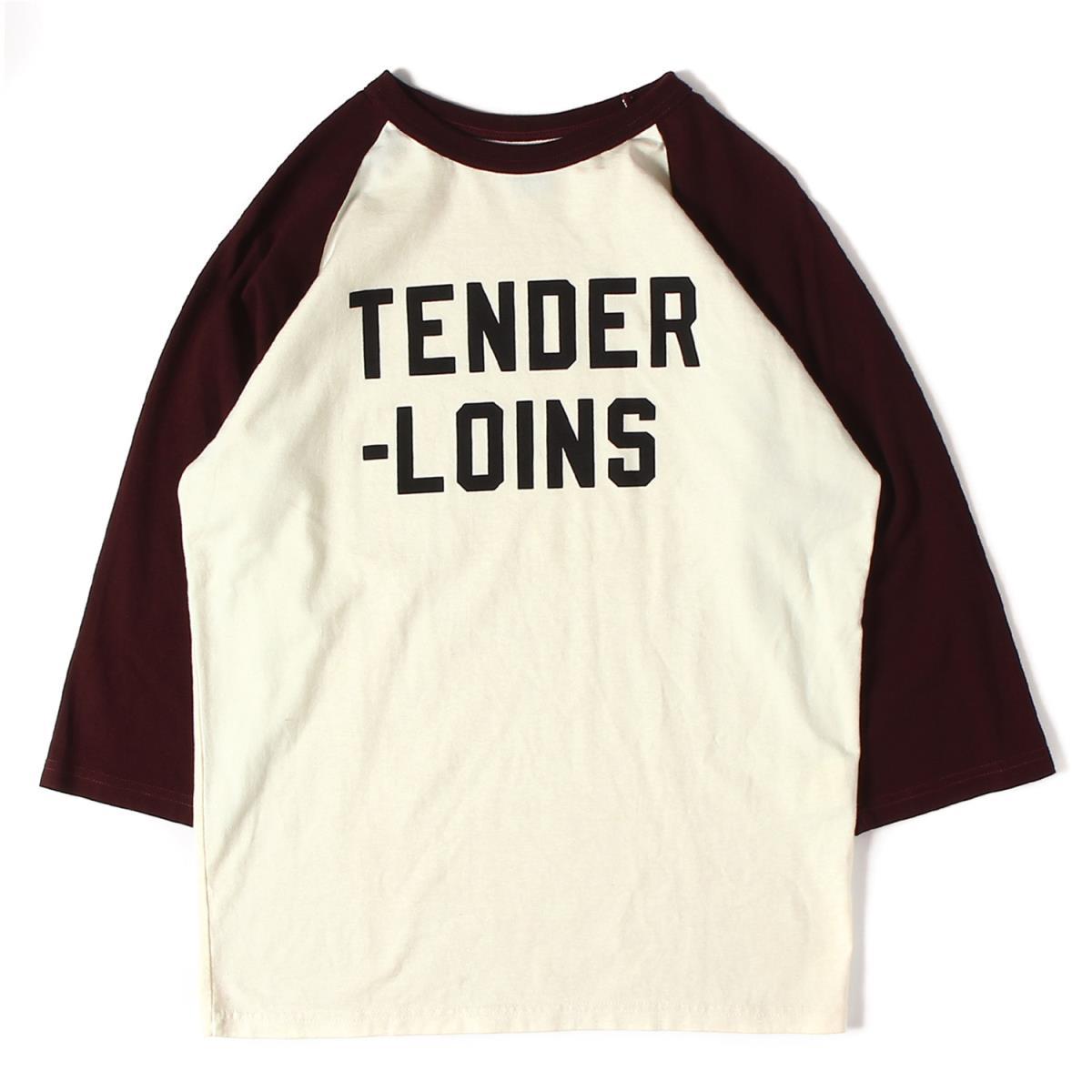 TENDERLOIN (テンダーロイン) ブランドロゴ7分袖ラグランTシャツ(T-RAGLAN) オフホワイト×バーガンディー XS 【新品同様】【メンズ】【K2238】【中古】【あす楽☆対応可】