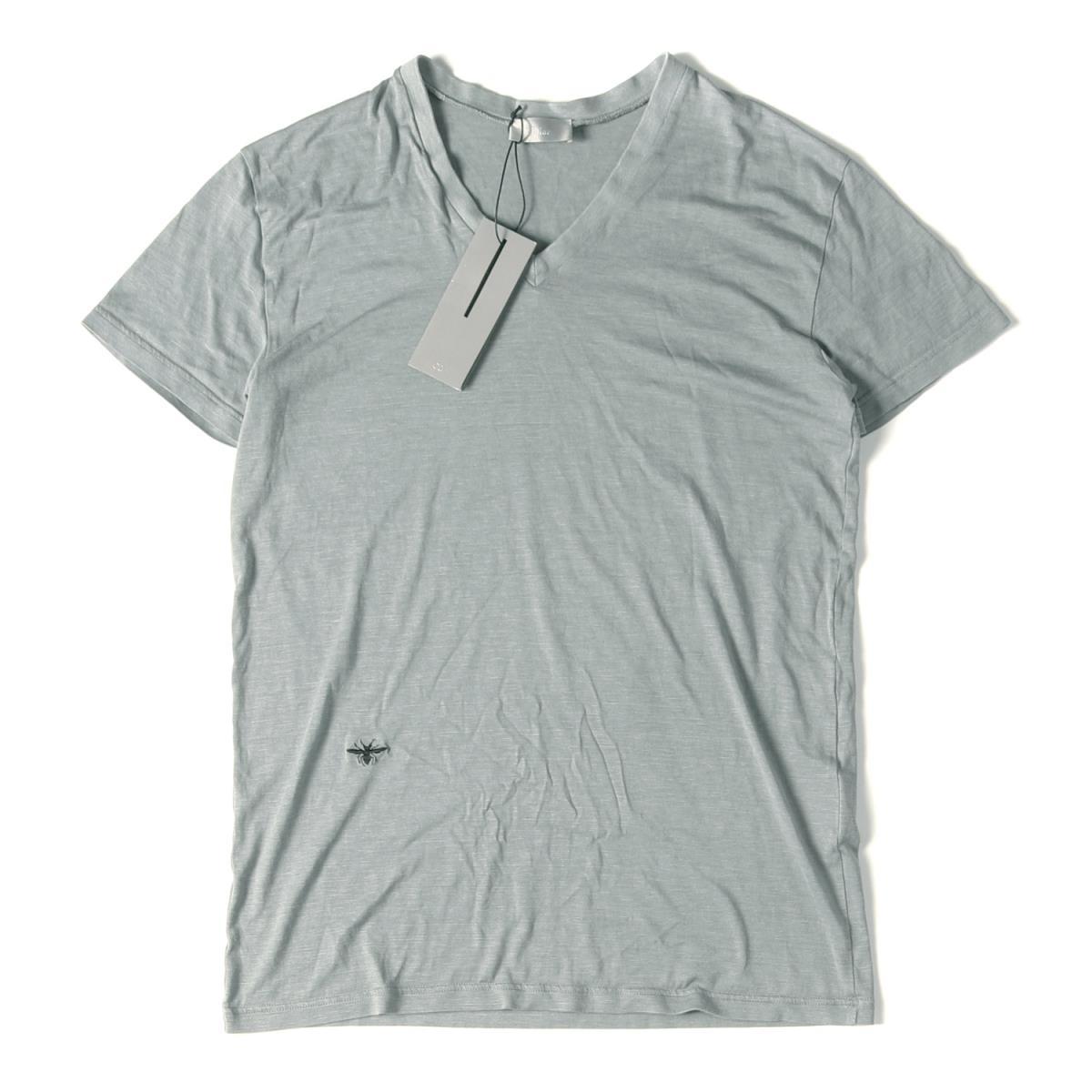 Dior HOMME (ディオールオム) BEE刺繍マイクロボーダーVネックTシャツ イタリア製 グレー S 【メンズ】【美品】【K2238】【中古】【あす楽☆対応可】
