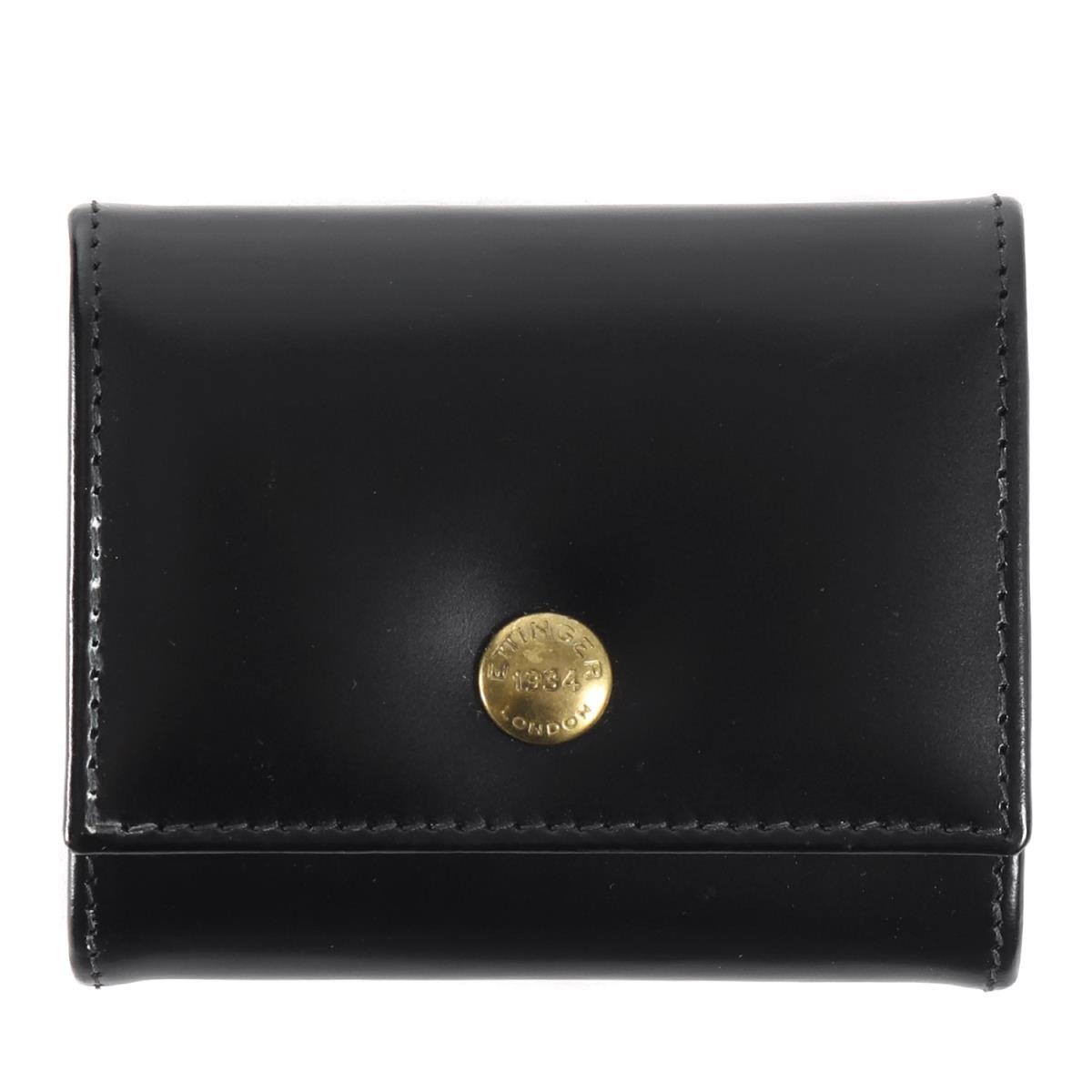 ETTINGER (エッティンガー) ブライドルレザーコインケース / 財布 (COIN PURSE) ブラック×パープル 【メンズ】【美品】【K2240】【中古】【あす楽☆対応可】