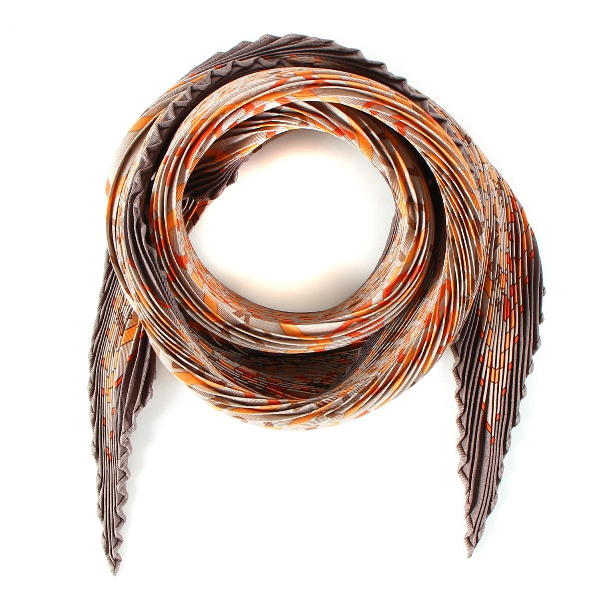 HERMES(エルメス) CARRE PLISSE シルク プリーツ カレ スカーフ ブラウン×ベージュ×オレンジ【美品】【K2246】【中古】【レディース】