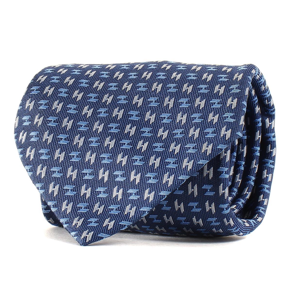 HERMES (エルメス) Hマーク総柄シルクネクタイ フランス製 シルク100% ブルー×シルバー 【メンズ】【美品】【K2247】【中古】【あす楽☆対応可】