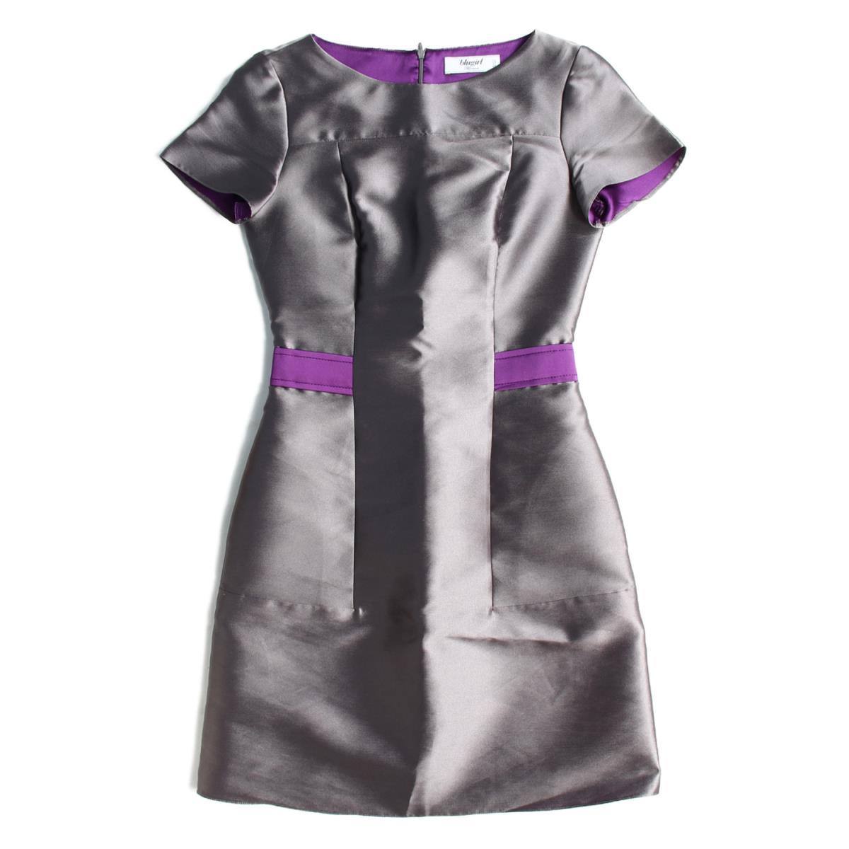 Blugirl(ブルーガール) 半袖ワンピース サテン シルクブレンド ドレス グレー×パープル 40 【レディース】【中古】【K2288】