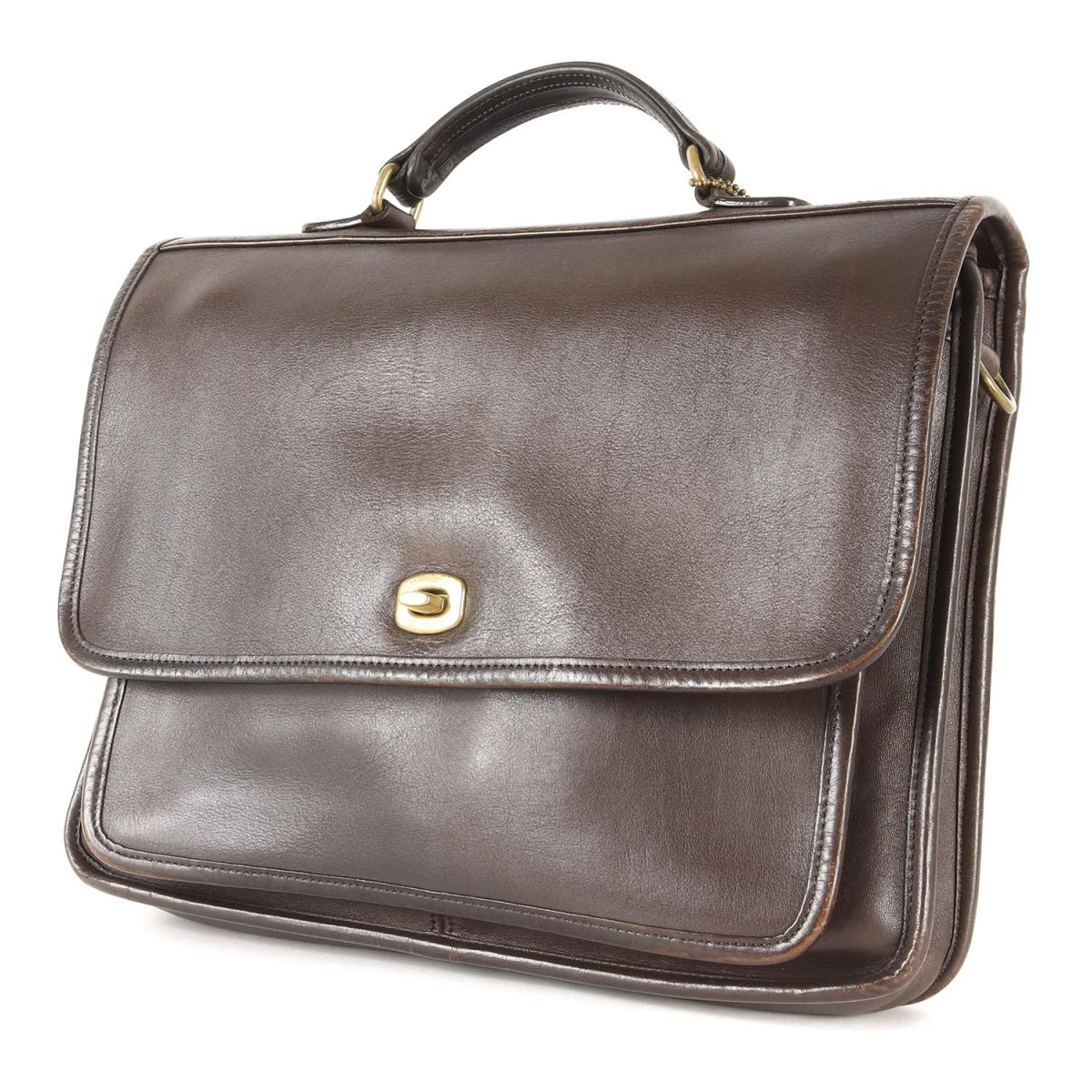 Coach Oar Leather Briefcase Business Bag Old Brown