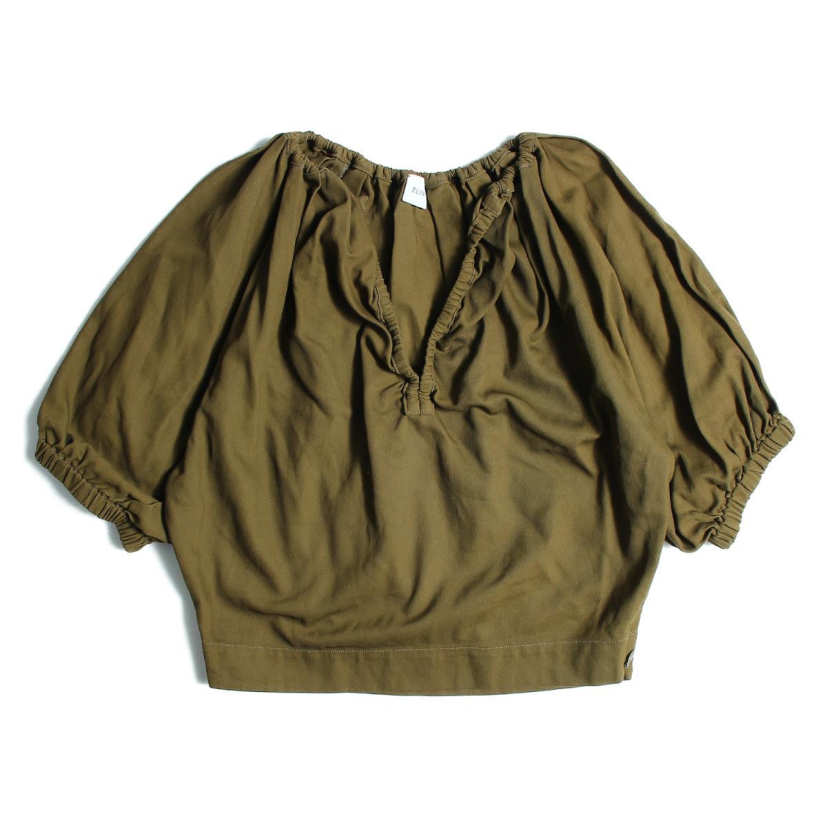 ELIN(エリン) Cotton gather half-sleeve top ギャザートップス ブラウス カーキ 36(S) 【レディース】【中古】【美品】【K2319】