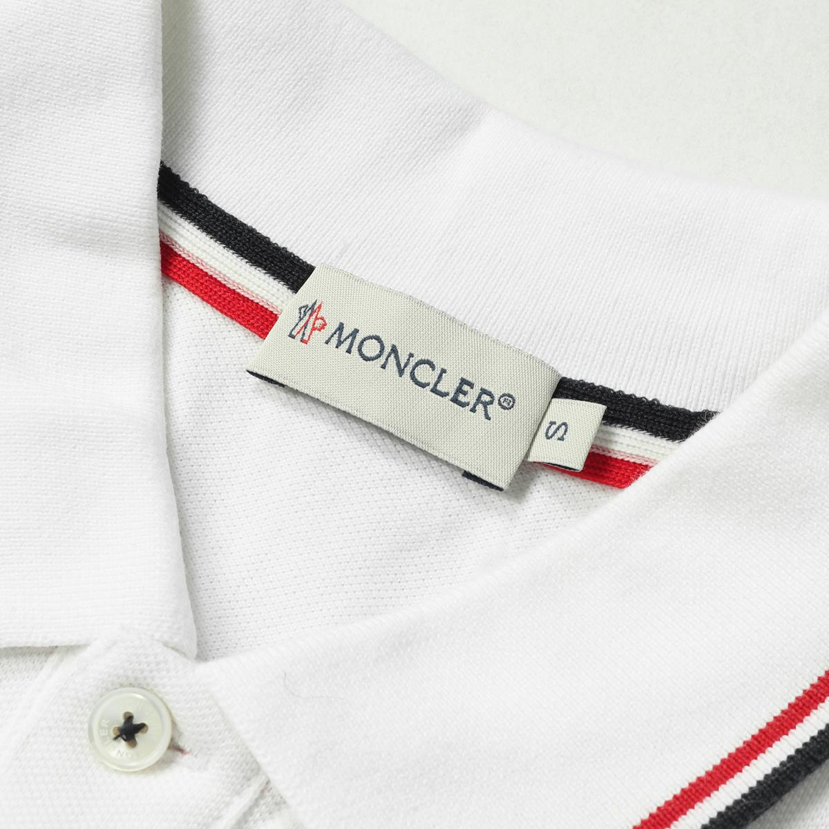 b77b930b9 Tricolor rib line fawn cotton short sleeves polo shirt (MAGLIA POLO MANICA  CORTA) white S with the MONCLER (Monk rail) emblem