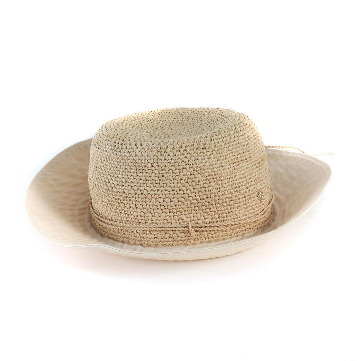 Helen Kaminski(ヘレンカミンスキー) コットン ラフィアハット 帽子 KUYA8 ベージュ×オフホワイト 【レディース】【中古】【K2336】