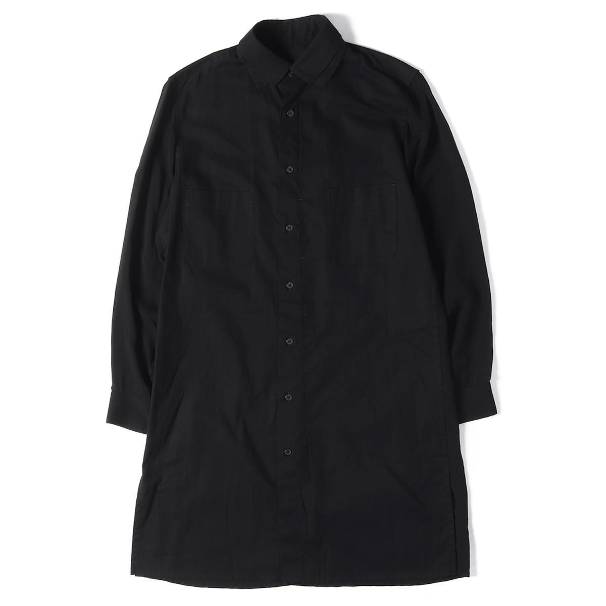 Yohji Yamamoto(Y's) (ヨウジヤマモト) 18A/W テンセル/コットン2枚衿ロングボタンシャツ BLACK Scandal Yohji Yamamoto ブラック 2 【メンズ】【中古】【K2533】【あす楽☆対応可】