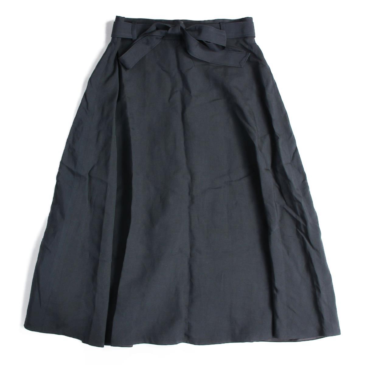 Ballsey(ボールジィ) レーヨンリネン ベルテッドフレアスカート 19春夏 チャコールグレー 36(9号) 【レディース】【中古】【美品】【K2620】