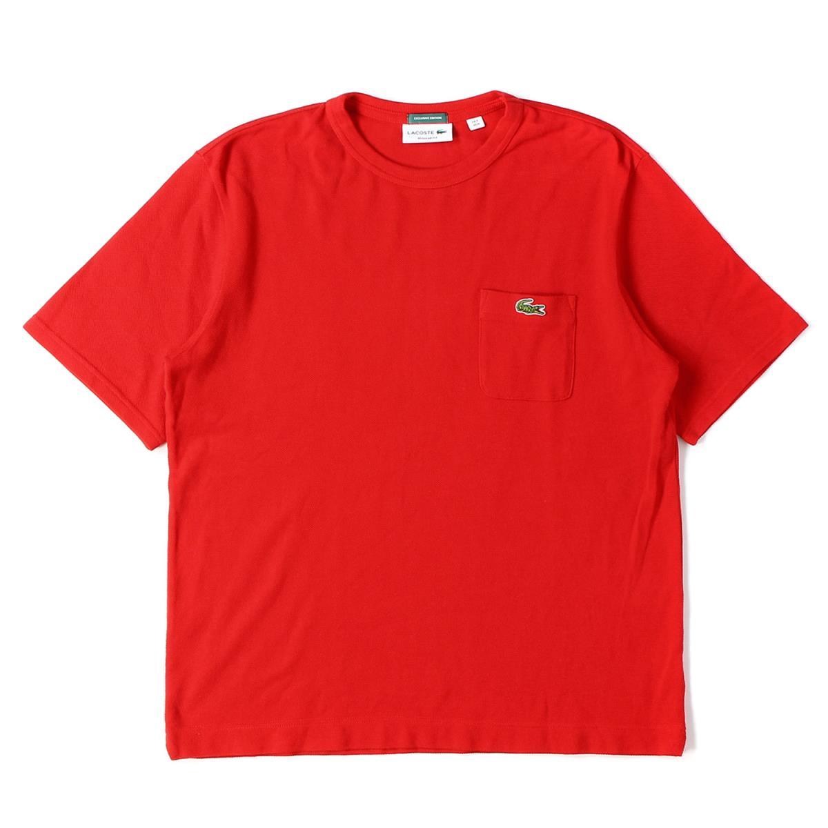 LACOSTE (ラコステ) Tシャツ BEAMS別注 ワニワッペン ポケット付き 鹿の子 コットン クルーネック 日本製 ラコステジャパンタグ レッド 4 【メンズ】【美品】【K2626】【あす楽☆対応可】:ブランド古着のBEEGLE by Boo-Bee