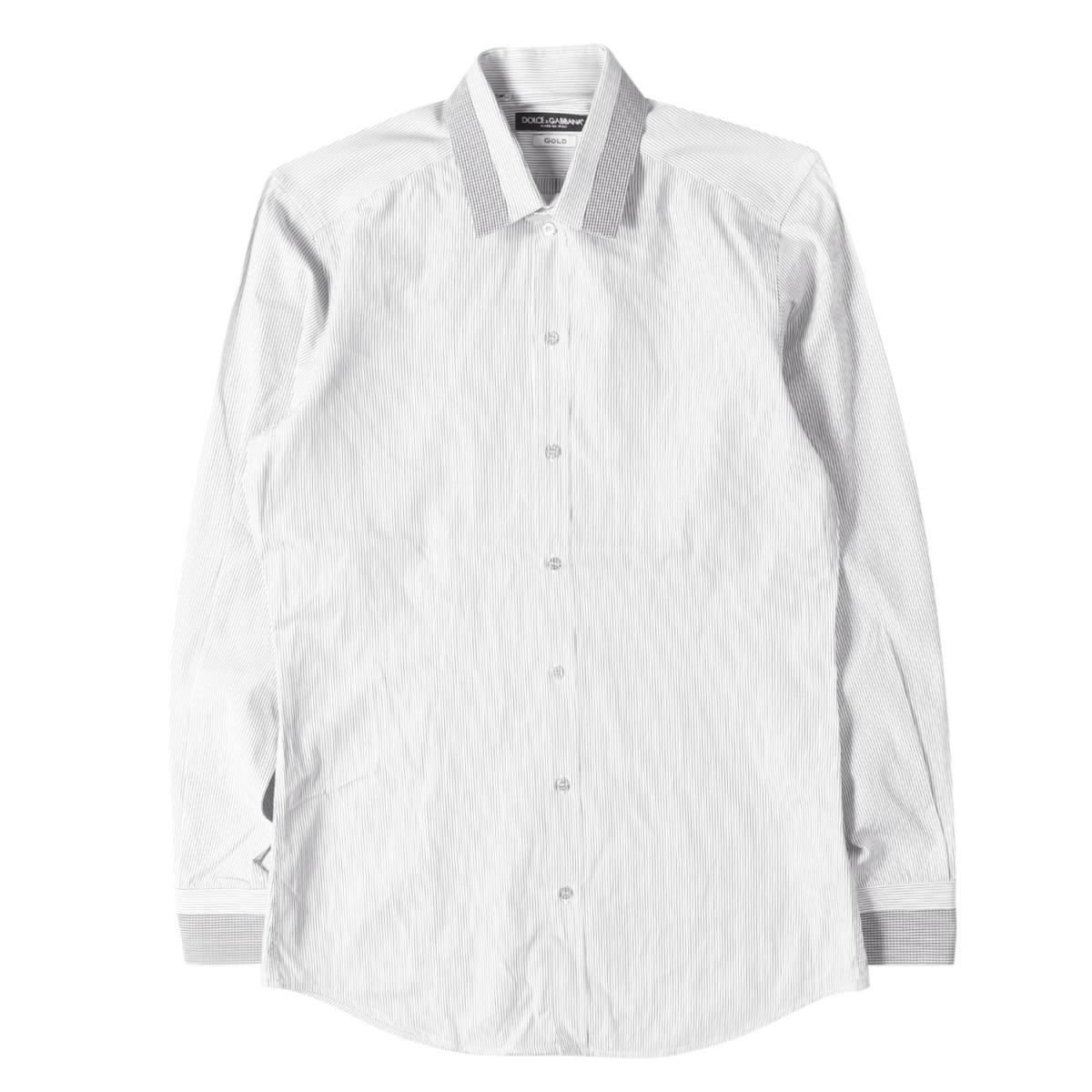 DOLCE&GABBANA (ドルチェ&ガッバーナ) チェックコンビストライプコットンドレスシャツ(GOLD) ホワイト×ブラック 15 1/2(39) 【メンズ】【中古】【K2368】【あす楽☆対応可】