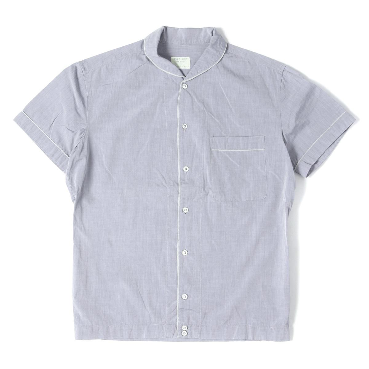 f77b4c7fb1de5 Blue S made in Rag&bone (rag and Vaughn) piping line shawl collar cotton  short sleeves button shirt Japan