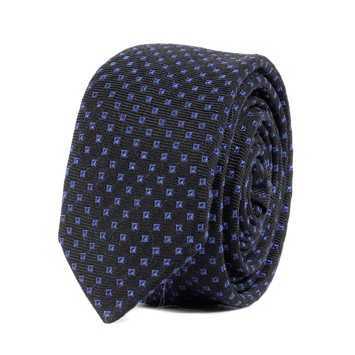 Dior HOMME (ディオールオム) スクエアドットシルクナローネクタイ イタリア製 シルク100% ブラック×ブルー 【メンズ】【中古】【美品】【K2394】【あす楽☆対応可】