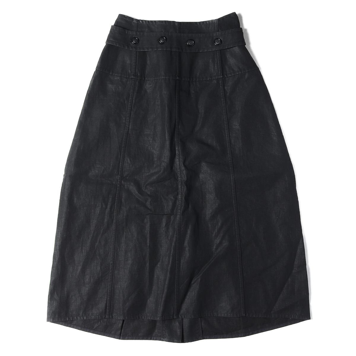 CELINE(セリーヌ) ベルテッド リネンスカート フランス製 ブラック 34 【レディース】【中古】【美品】【K2613】