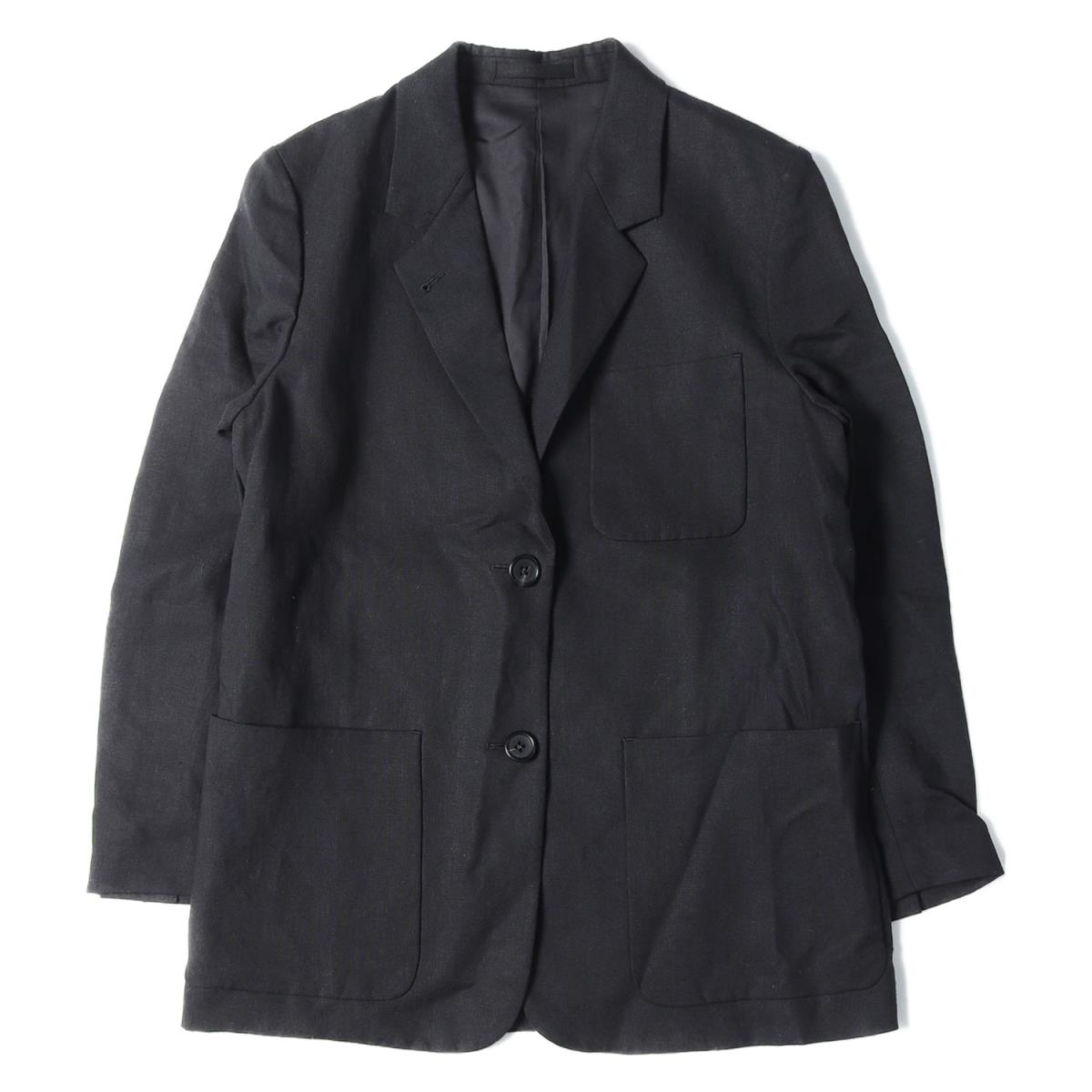 MARGARET HOWELL(マーガレットハウエル) リネン テーラードジャケット FINE COMPACT LINEN 19春夏 ブラック 2 【レディース】【中古】【美品】【K2407】