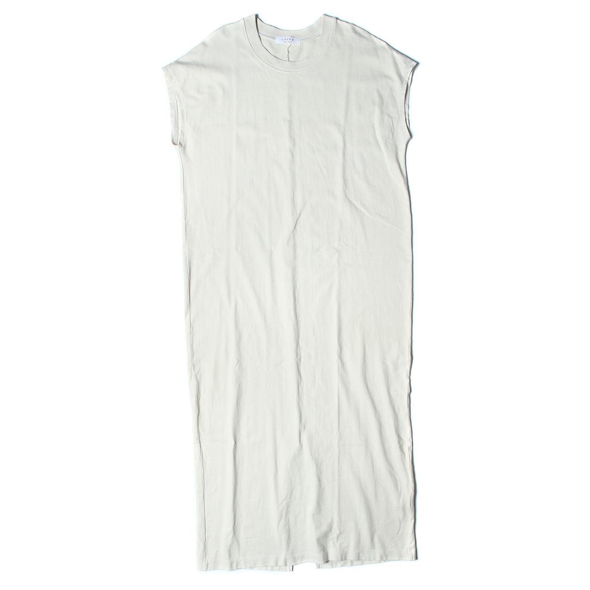 CALUX(キャラクス) コットン Tシャツ ワンピース C/N LONG 19秋冬 ホワイト S 【レディース】【中古】【K2634】