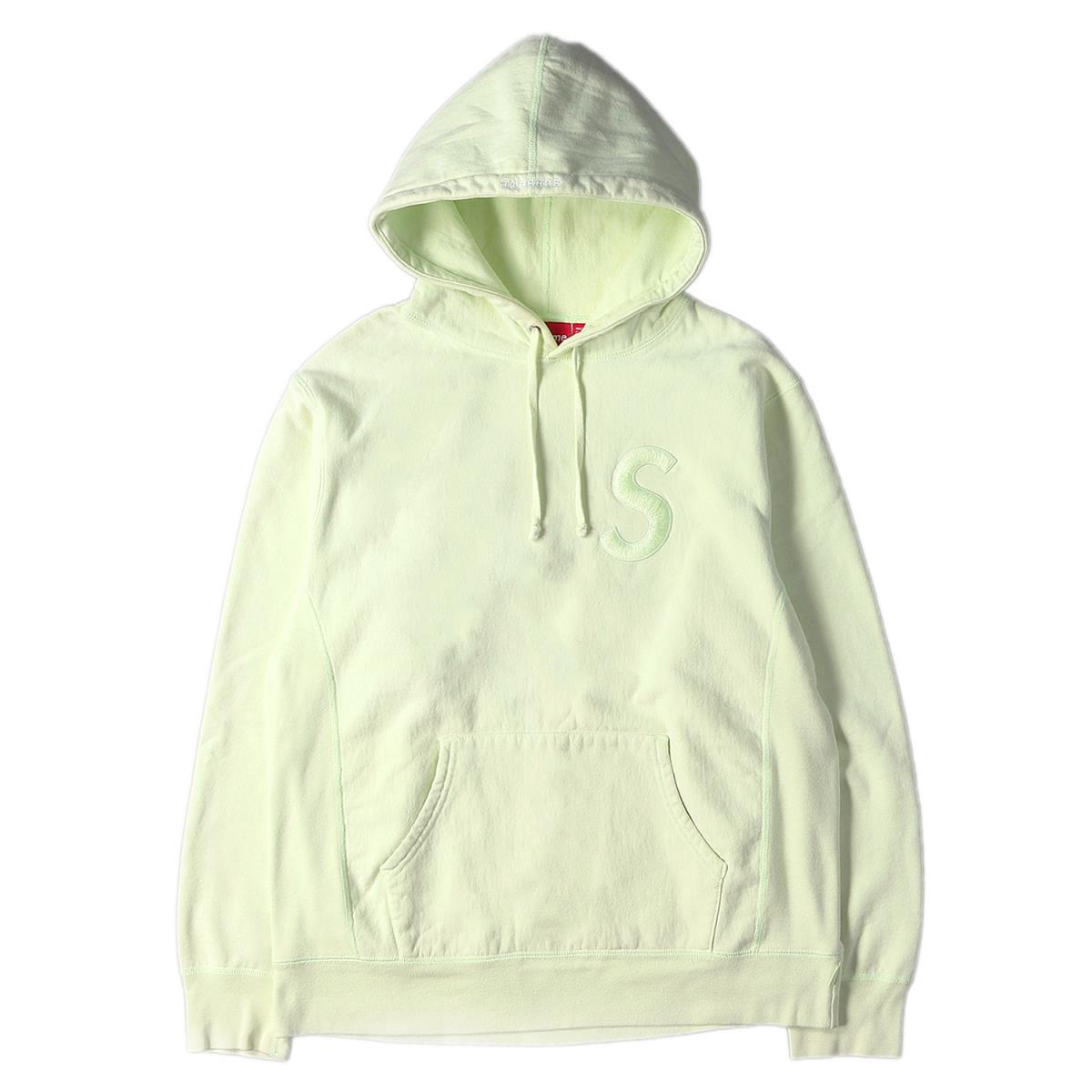 Supreme (シュプリーム) パーカー 17AW Sロゴ 刺繍 スウェット パーカー Tonal S Logo Hooded Sweatshirt ペールライム L 【メンズ】【中古】【K2541】【あす楽☆対応可】