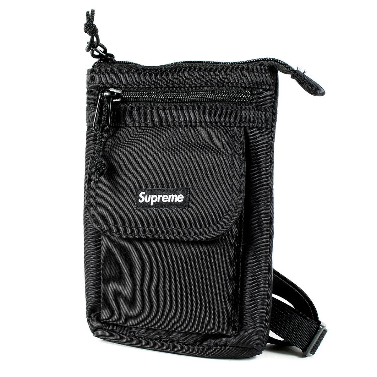 Supreme シュプリーム バッグ 19AW カラビナ コーデュラ ナイロン ショルダーバッグ Shoulder Bag ブラック 【メンズ】【中古】【新品同様】【K2444】【あす楽☆対応可】