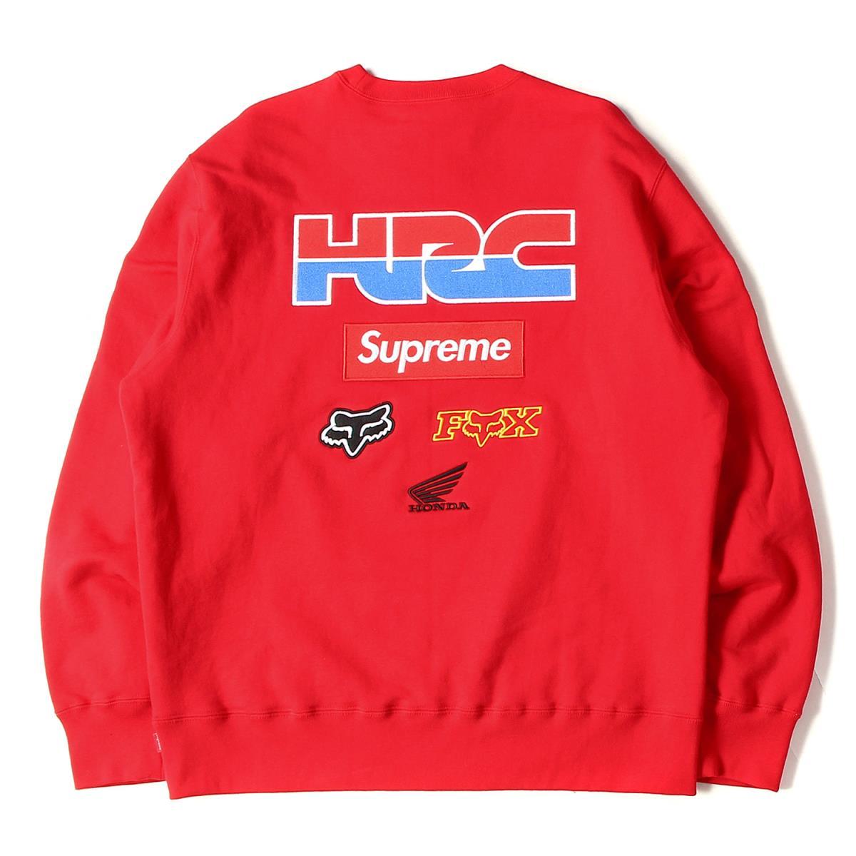 Supreme シュプリーム スウェット 19AW × HONDA × Fox Racing BOXロゴ クルーネック スウェット Crewneck レッド L 【メンズ】【K2572】