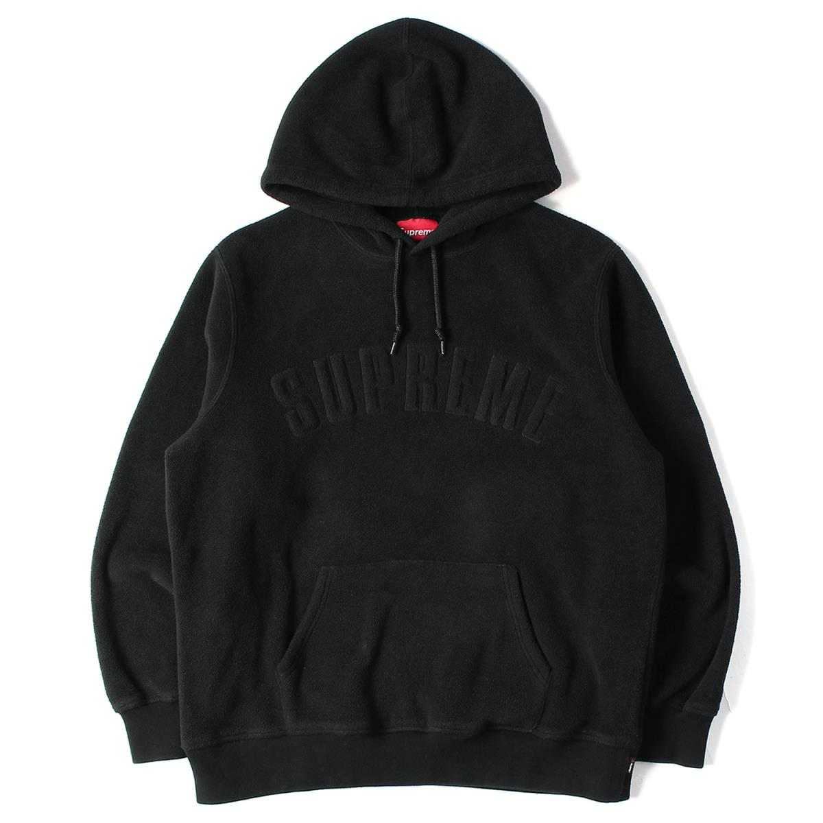 Supreme シュプリーム パーカー 18AW アーチロゴ ポーラテック フリース パーカー Polartec Hooded Sweatshirt ブラック L 【メンズ】【中古】【K2590】【あす楽☆対応可】