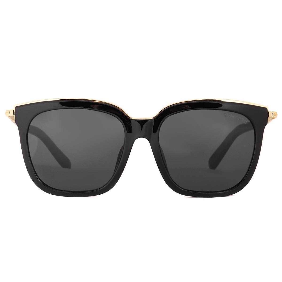 TOM FORD トムフォード サングラス ウェリントン サングラス TF483-D イタリア製 眼鏡 ブラック ゴールド スモーク 56□18 【メンズ】【中古】【美品】【K2490】