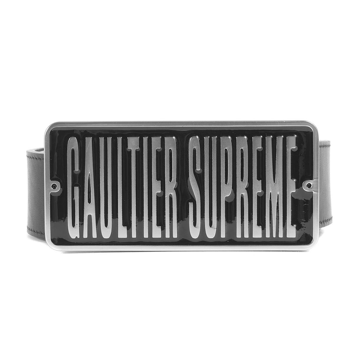 Supreme シュプリーム ベルト 19SS Jean Paul Gaultier ロゴバックルレザーベルト Belt ブラック S/M 【メンズ】【中古】【美品】【K2499】