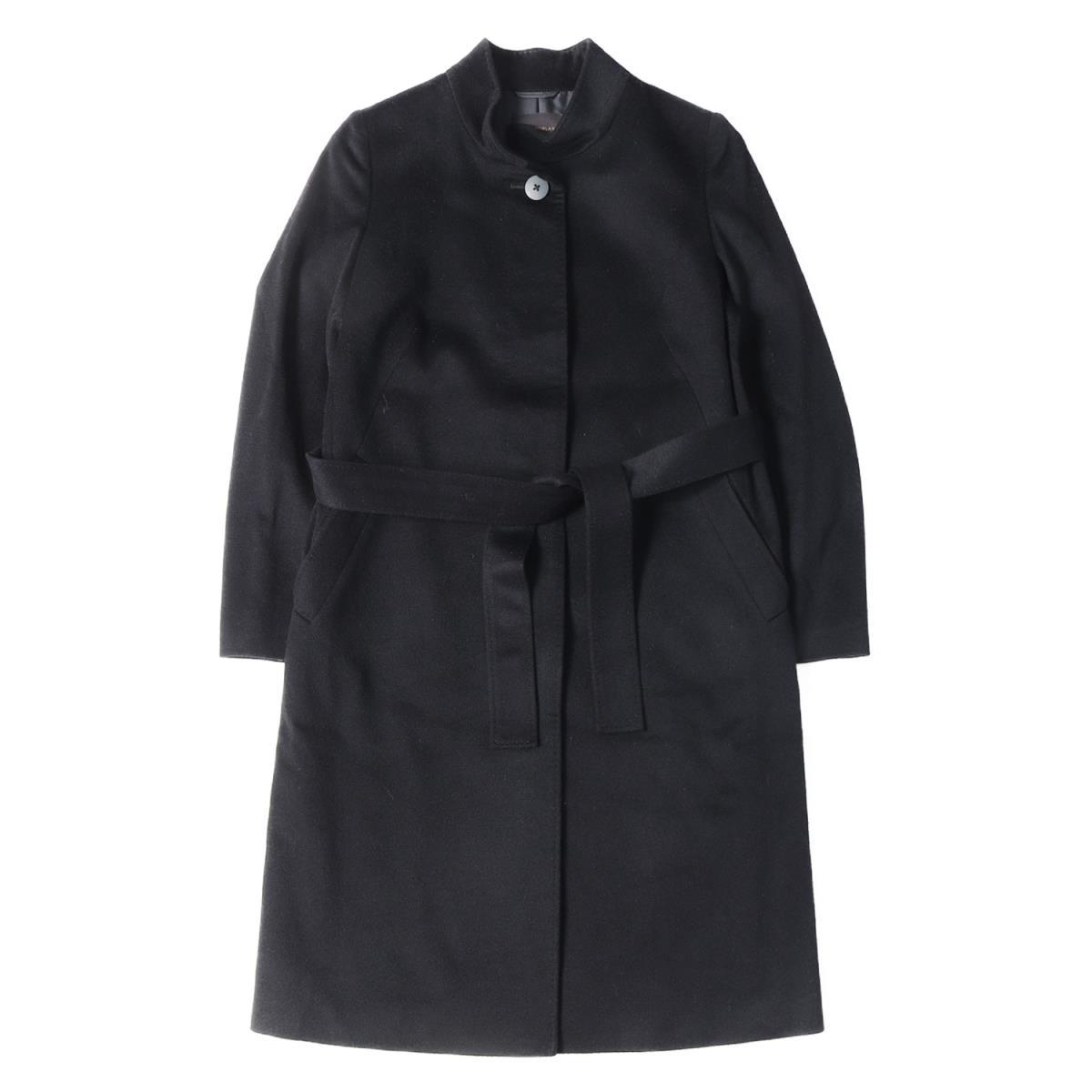 TOMORROWLAND collection トゥモローランドコレクション ピュアカシミヤ スタンドカラー ベルテッド コート ブラック 36(9号) 【レディース】【中古】【美品】【K2502】