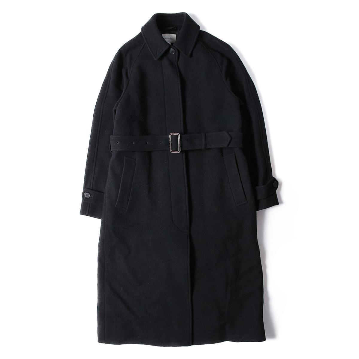 STEVEN ALAN スティーブンアラン メルトン ロング ステンカラー コート ブラック 【レディース】【中古】【K2525】