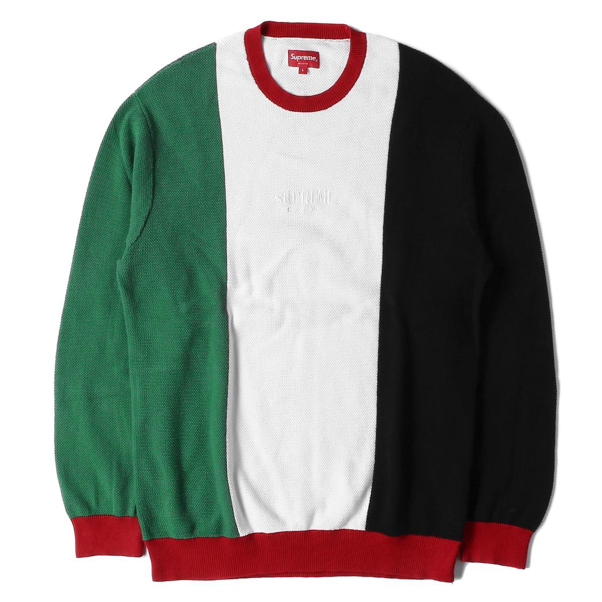 Supreme シュプリーム スウェット 18AW イタリアンカラー ピケ クルーネック スウェット Pique Crewneck ホワイト L 【メンズ】【美品】【中古】【K2558】