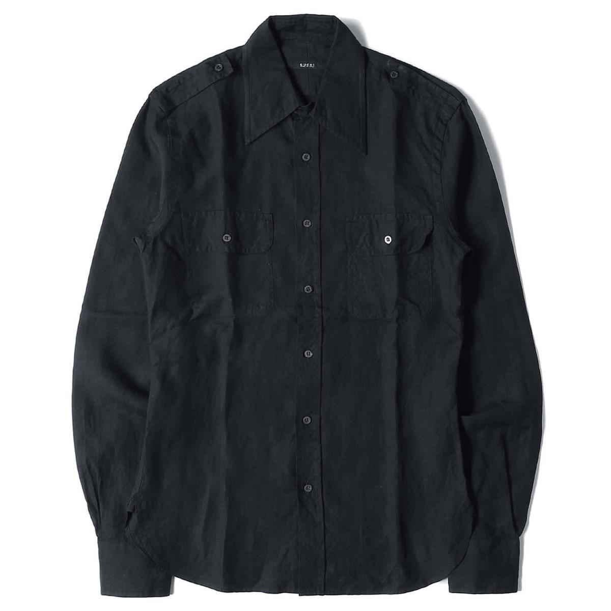 GUCCI グッチ シャツ エポレット付き リネン ボタン シャツ ブラック 38/15 【メンズ】【美品】【中古】【K2558】