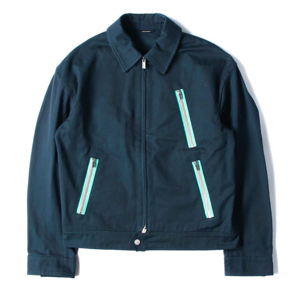 HERMES エルメス ジャケット ジップ デザイン コットン ツイル フルジップ ワークジャケット フランス製 ネイビー 50 【メンズ】【中古】【美品】【K2569】
